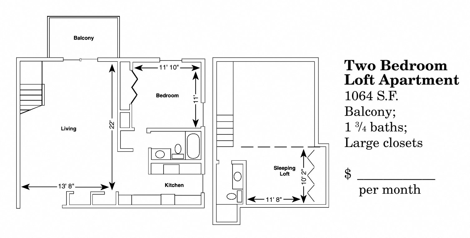 2 Bedroom Loft Floor Plan 4