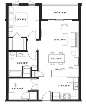 One Bedroom with Den E