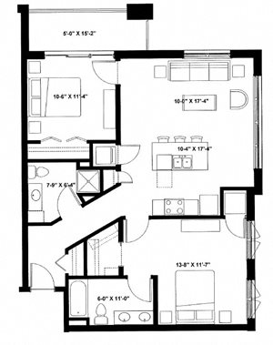 Two Bedroom Two Bath F