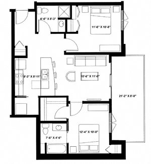 Two Bedroom Two Bath M
