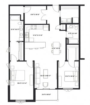 Two Bedroom Two Bath with Den R
