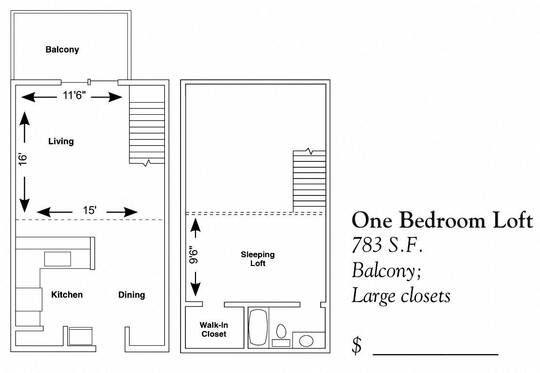 1 Bedroom Loft Floor Plan 2