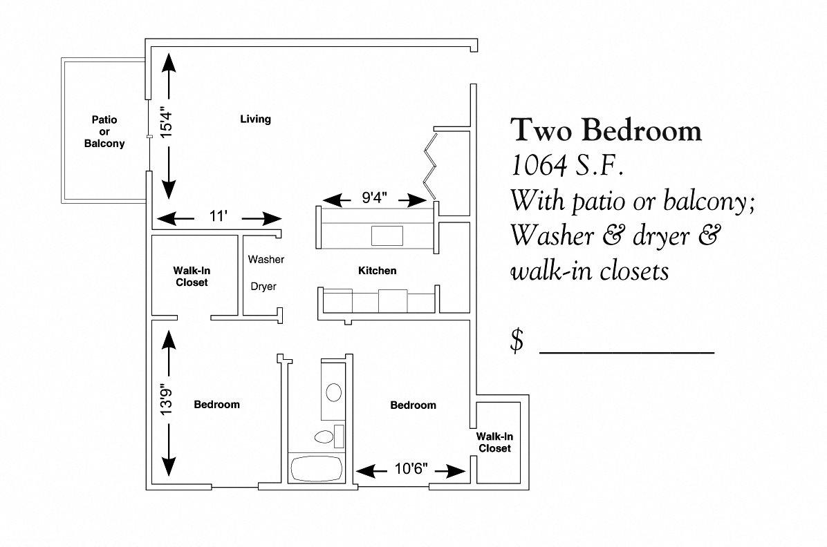 2 Bedroom Ranch Floor Plan 3