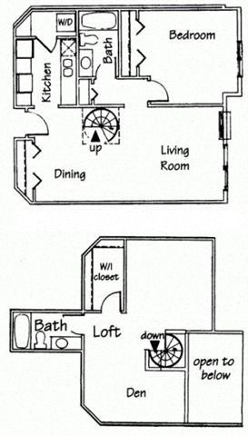 2 Bedroom 2 bath Spiral Loft