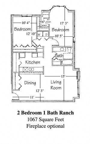 2 Bedroom 1 Bath Ranch