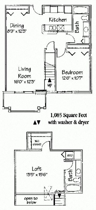 2 bedroom 2 bath loft interior Floor Plan 5