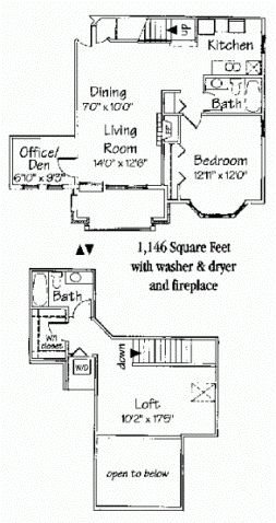 2 bedroom 2 bath corner loft + den w/fireplace Floor Plan 9