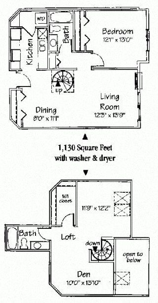 2 bedroom 2 bath spiral loft Floor Plan 8