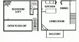 1 Bedroom 1 bath Large Loft Floor Plan 5