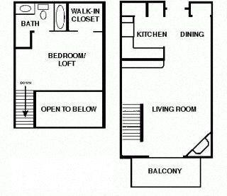 1 Bedroom 1 bath Loft Floor Plan 3