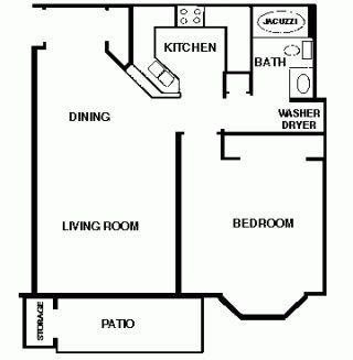 1 Bedroom 1 bath Large Ranch Floor Plan 4