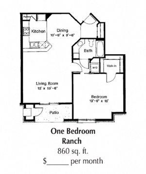 1 Bedroom 1 Bath 860 Sq. Ft.