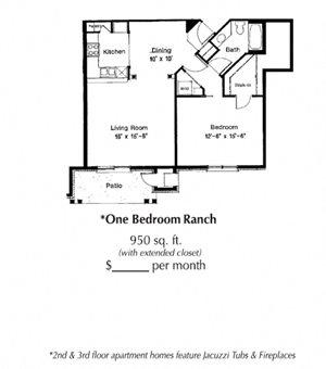 1 Bedroom 1 Bath 950 Sq. Ft.