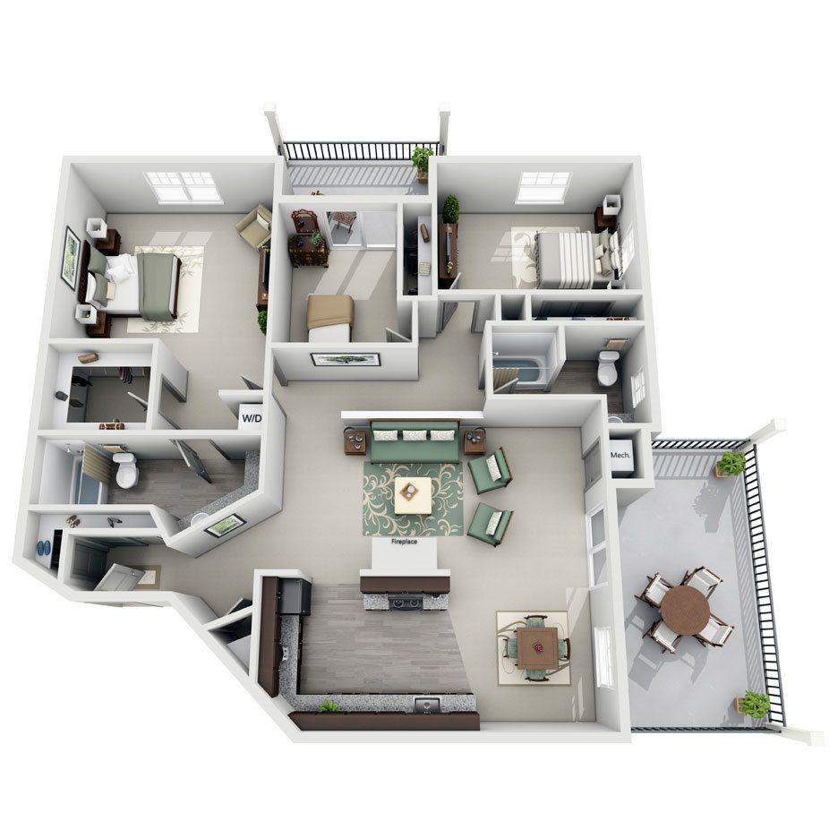 Meridian Pointe Apartment Homes - 3 Bedroom 2 Bath Apartment