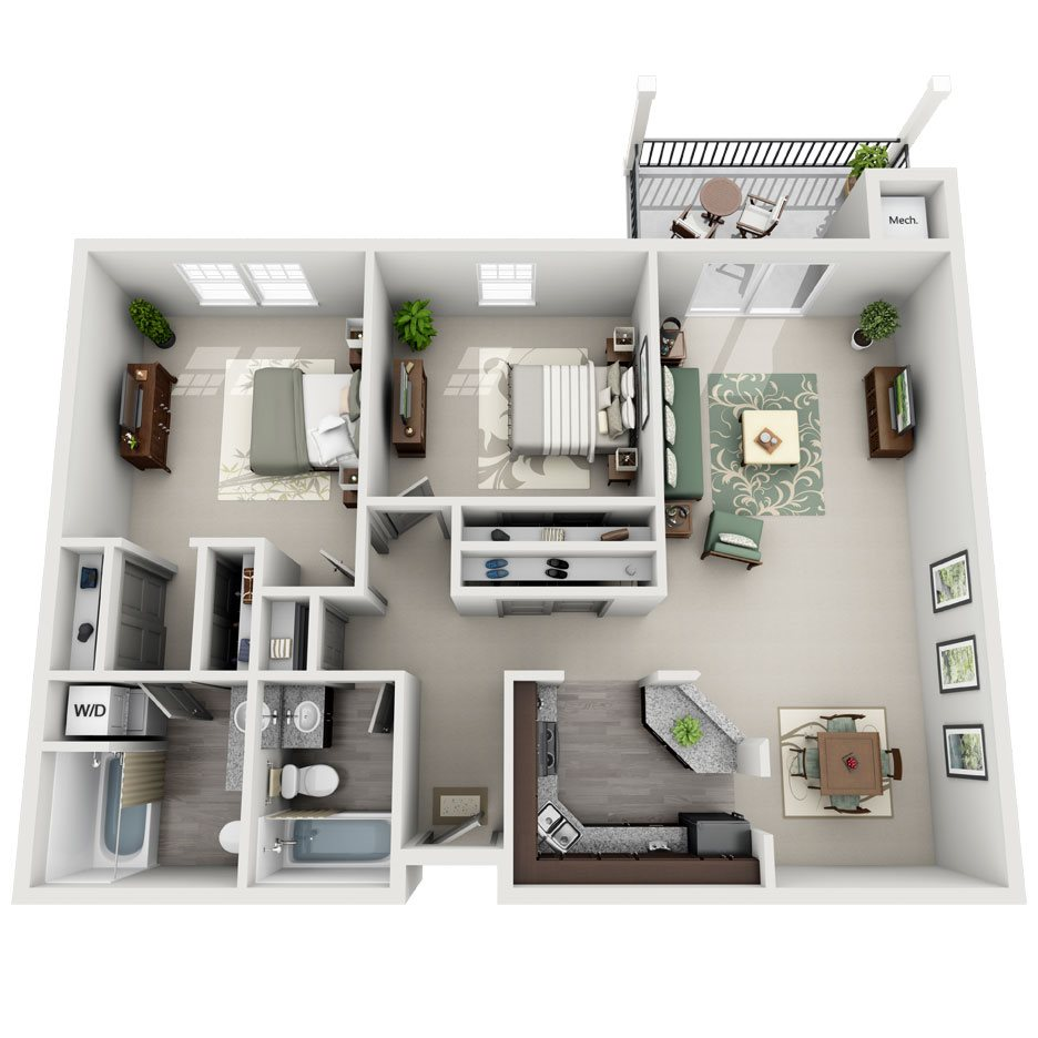 Meridian Pointe Apartment Homes - 2 Bedroom 2 Bath Apartment