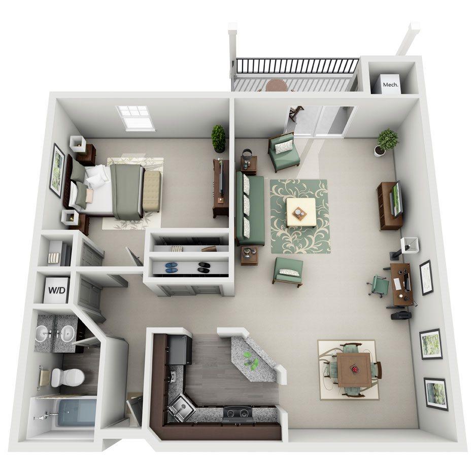 Somerset One Bedroom/One Bath Floor Plan 3
