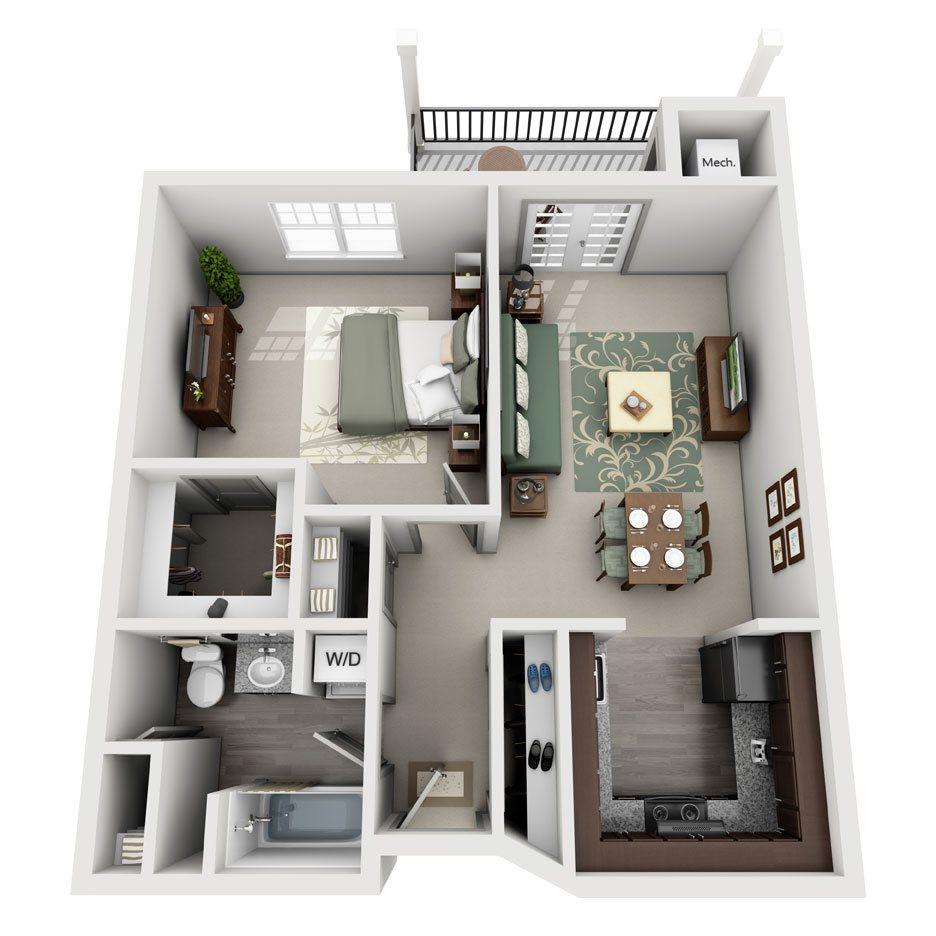 Tamarak One Bedroom/One Bath Floor Plan 2