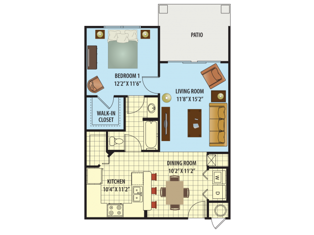 One Bedroom/One Bath Floor Plan 1