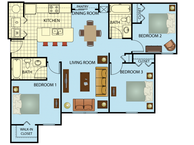 Three Bedroom/Two Bath Floor Plan 3