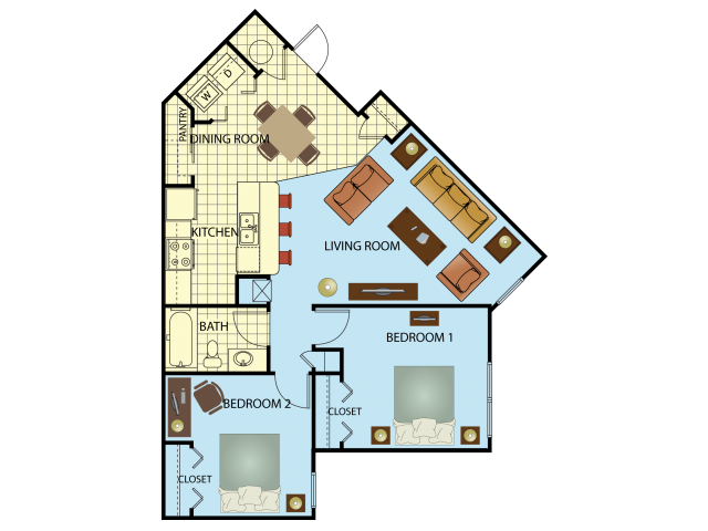 Two Bedroom/One Bath Floor Plan 2