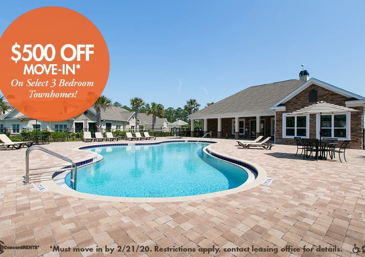 $500 off move in costs on select 3 bedroom townhomes Must move in by 2/21