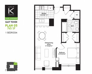 East Tower - 1 Bed - Plan 05