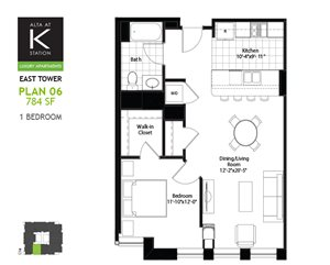 East Tower - 1 Bed - Plan 06