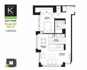 East Tower - 1 Bed - Plan 07