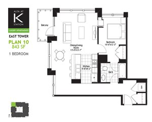 East Tower - 1 Bed - Plan 10