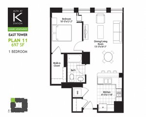 East Tower - 1 Bed - Plan 11
