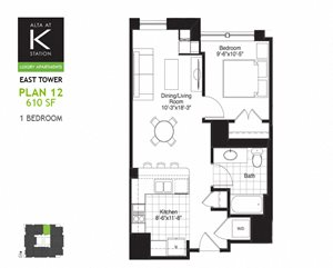 East Tower - 1 Bed - Plan 12