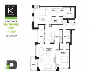 East Tower - 2 Bed - Penthouse Plan 04 & 05
