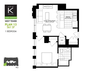 West Tower - 1 Bed - Plan 13