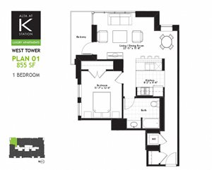West Tower - 1 Bed - Plan 01
