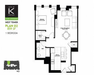 West Tower - 1 Bed - Plan 02