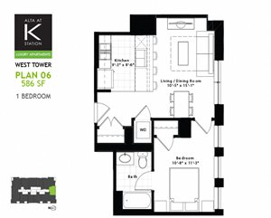 West Tower - 1 Bed - Plan 06