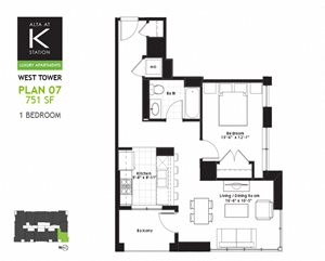 West Tower - 1 Bed - Plan 07 & 12