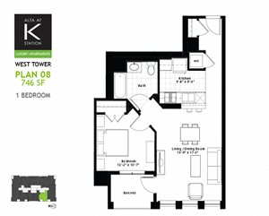 West Tower - 1 Bed - Plan 08 & 11