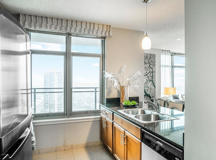Large windows and stainless steel appliances in Alta's apartment kitchens