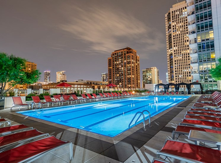 Alta's rooftop pool terrace features ample lounge chairs