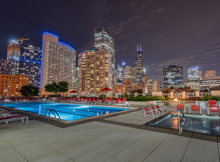 Alta's rooftop terrace is a great place to view the Chicago skyline at night