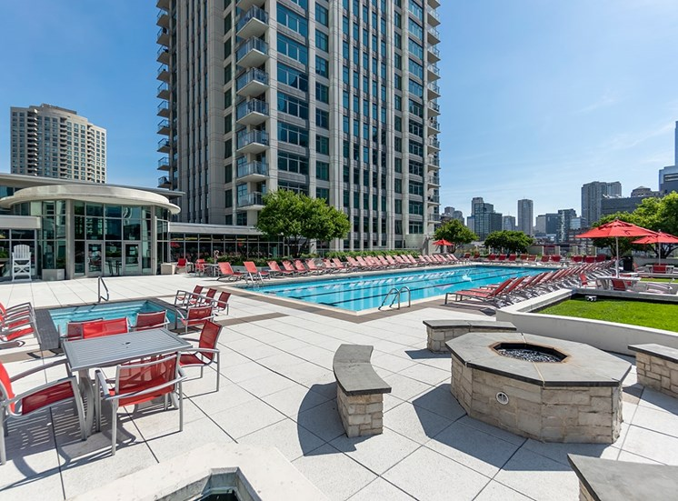 Alta's rooftop terrace with fire pit, pool and Jacuzzi
