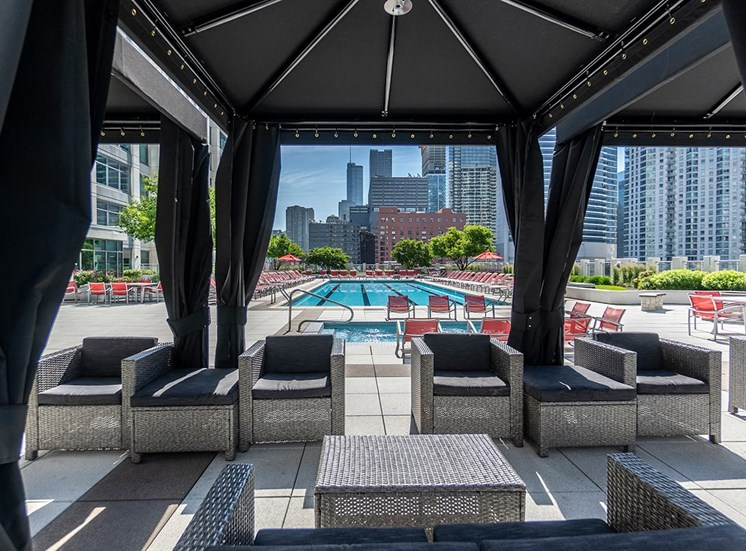 Alta's rooftop terrace features private cabanas