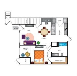 Mediterra Apartment Homes 1 Bedroom Apartment Floor Plan
