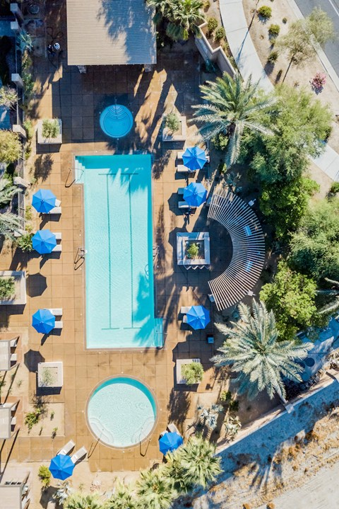 Mediterra Apartment Homes Aerial Pool Deck & Pool View