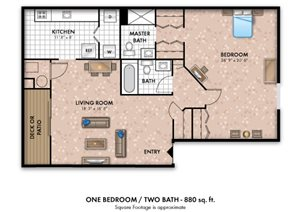 1 Bedroom 2 Bath