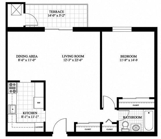 1Bed 1Bath Floor Plan 2