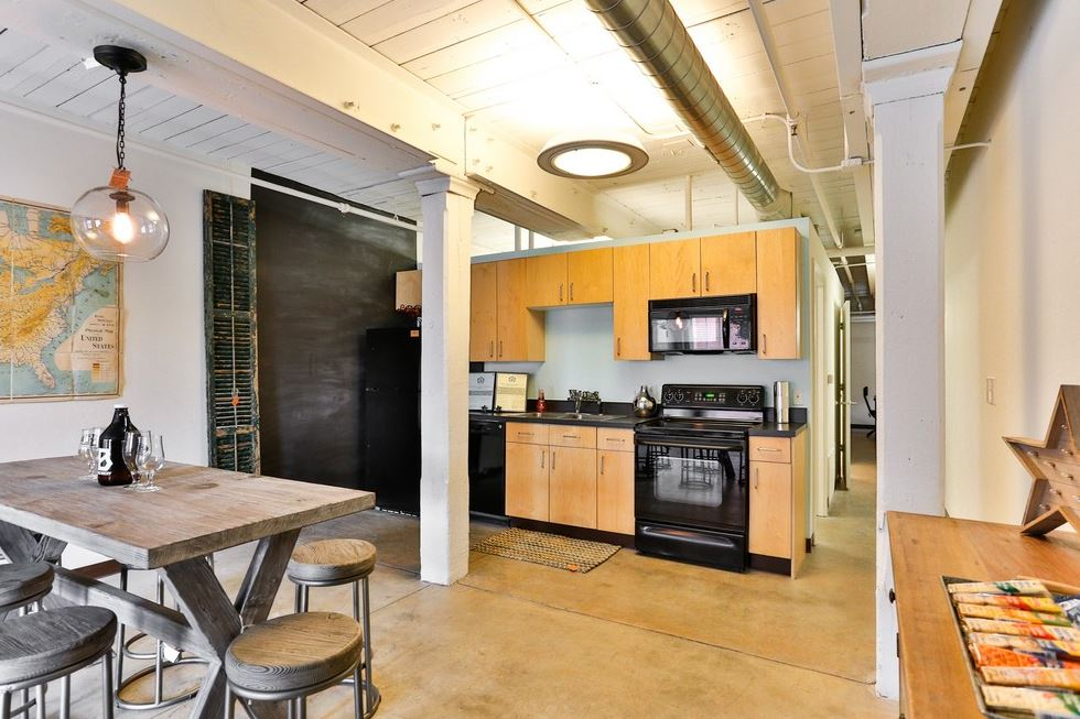 Kitchen at Highland Mill Lofts Apartments in NoDa, Charlotte
