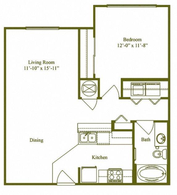 One Bedroom One Bathroom (A1) Floor Plan 1