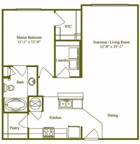 One Bedroom, One Bathroom (A2) Floor Plan 2